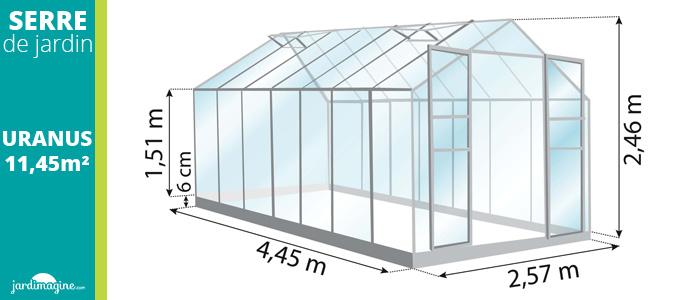 serre 11,45m² - serre de jardin en verre trempé et structure aliminium