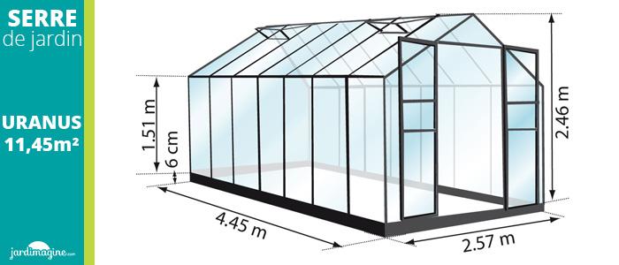 serre 11,45m² - serre de jardin en verre trempé et structure aluminium laqué noire