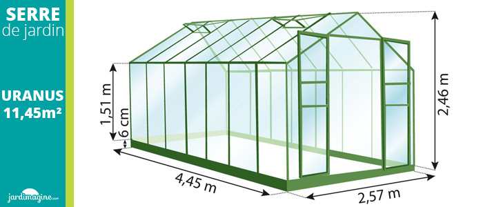 serre 11,50m² - serre de jardin en verre trempé et structure aluminium laqué verte