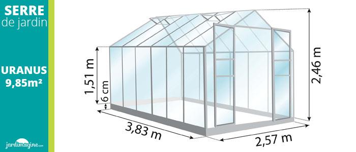 serre 9,85m² - serre de jardin en verre trempé et structure aluminium