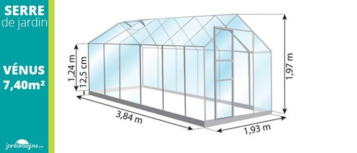 Serre de jardin en verre trempé 3 mm - petite serre 7,40m²