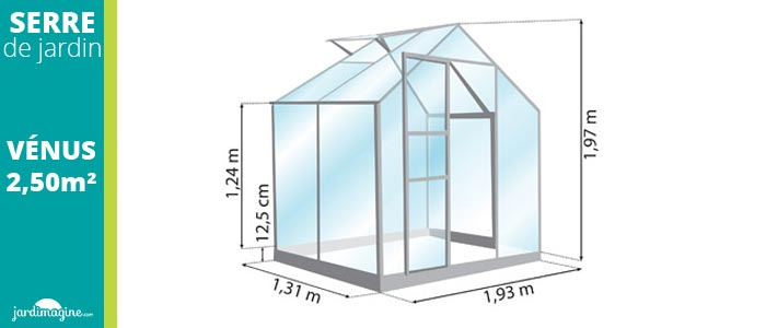 petite serre de jardin pas cher en verre 2,5m² lams venus 2500