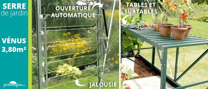 accessoires pour serre en verre - ouverture automatique de lucarne - jalousie pour aérer - étagères pour serre