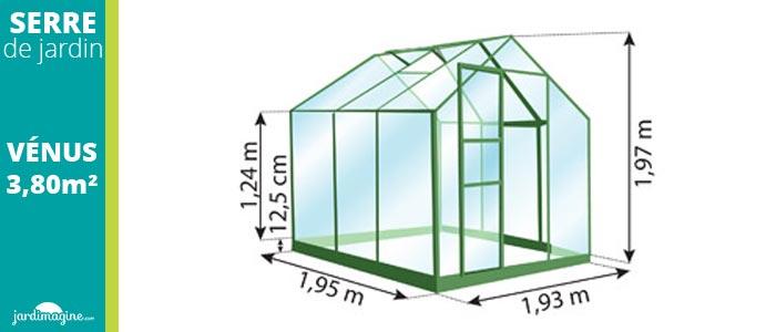 Petite serre de jardin en verre Vénus 3800 - Serre 3,8m²
