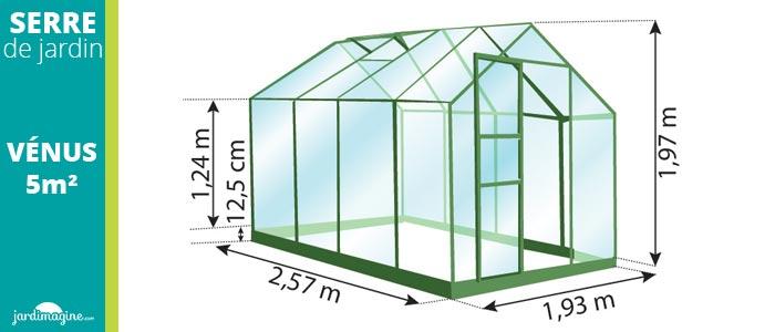 serre en verre 5m² - vénus 5000 - verre trempé et structure aluminium