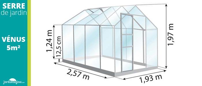 petite serre de jardin en verre 5m² lams venus 5000