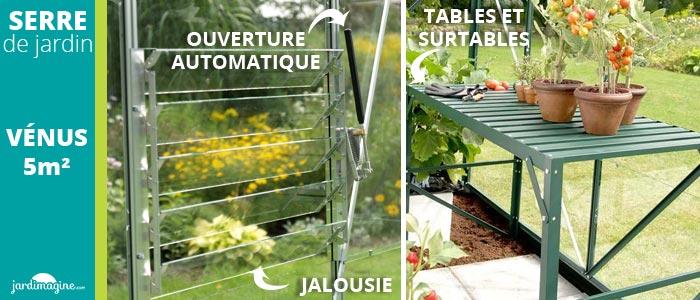 accessoires pour serre de jardin : ouverture automatique, jalousie, étagère de serre