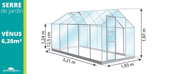 dimensions serre venus 6m² petite serre en verre