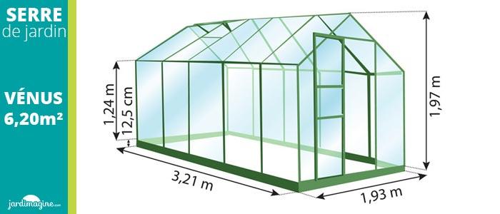 serre en verre trempé 3 mm et structure aluminium - serre 6,20 m² - petite serre de jardin