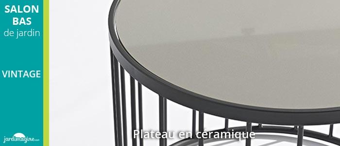 Salon bas VINTAGE en métal et coussins gris