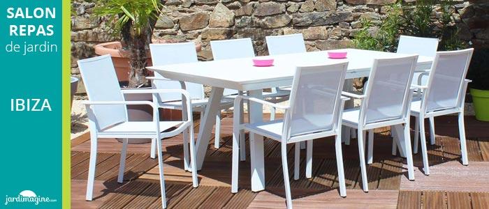 RESIDENCE - Salon de jardin IBIZA blanc / gris - pas cher ...