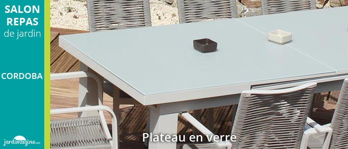 Salon de jardin CORDOBA coloris sable et fauteuils cordes