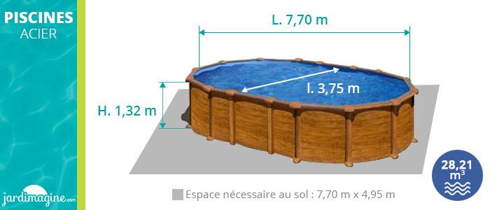 piscine hors sol 7x3m amazonia gré aspect bois