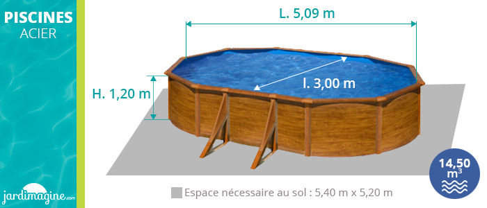 PIscine hors sol acier 5 x 3 m imitation bois marque gré