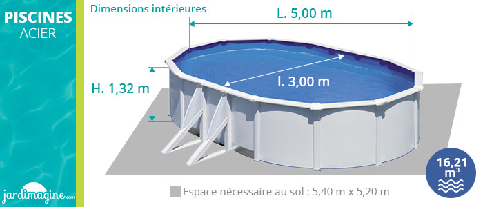 Piscine acier ovale 5x3m hauteur 1,32 m