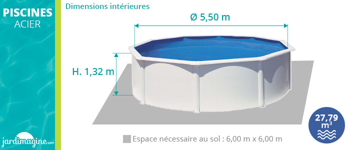 piscine acier hors sol diamètre 5,50 m