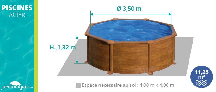 Piscine acier ronde imitation bois hauteur 1,32 m diamètre 3,50 m