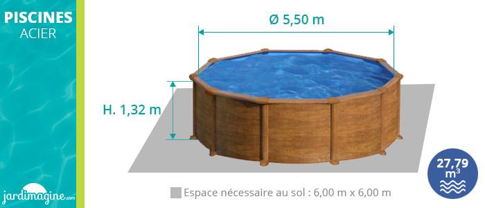 piscine acier hors sol imitation bois diamètre 5,50 m hauteur 1,32
