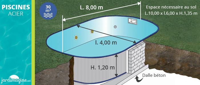 piscine acier enterrée 8 x 4 m marque Gré KPEOV8027