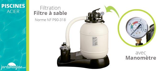 filtration piscine acier Gré