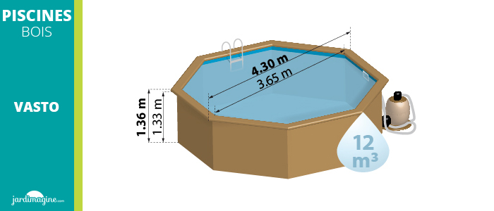dimensions piscine bois vasto