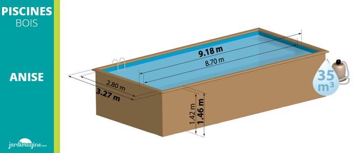 piscine bois rectangulaire 9 x 3
