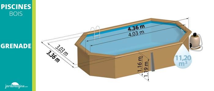 piscine bois grenade de sunbay forme allongé