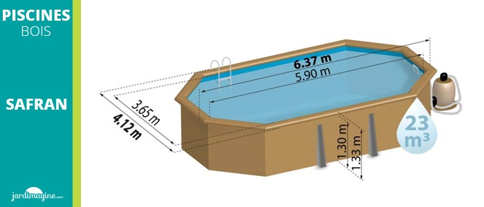 piscine bois octogonale 6 x 4