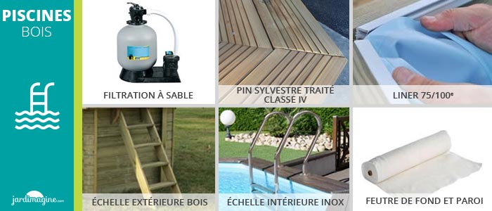 kit complet piscine en bois rectangulaire