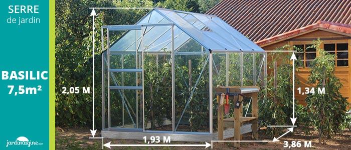 dimensions serres basilic 5000 - serre de jardin en aluminium et verre