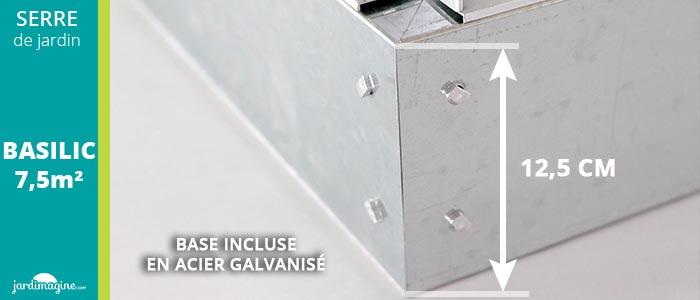 base pour serre de jardin aluminium