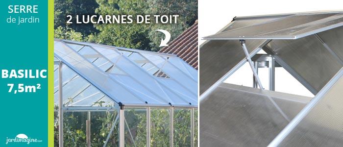 lucarne de toit sur serre de jardin aluminium