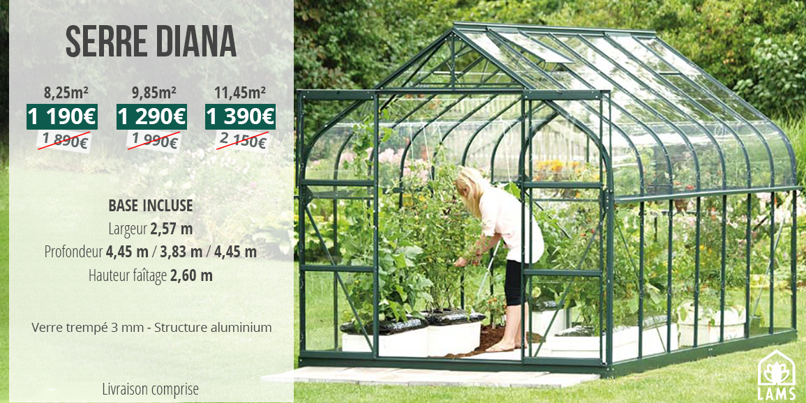 serre de jardin en verre en promo
