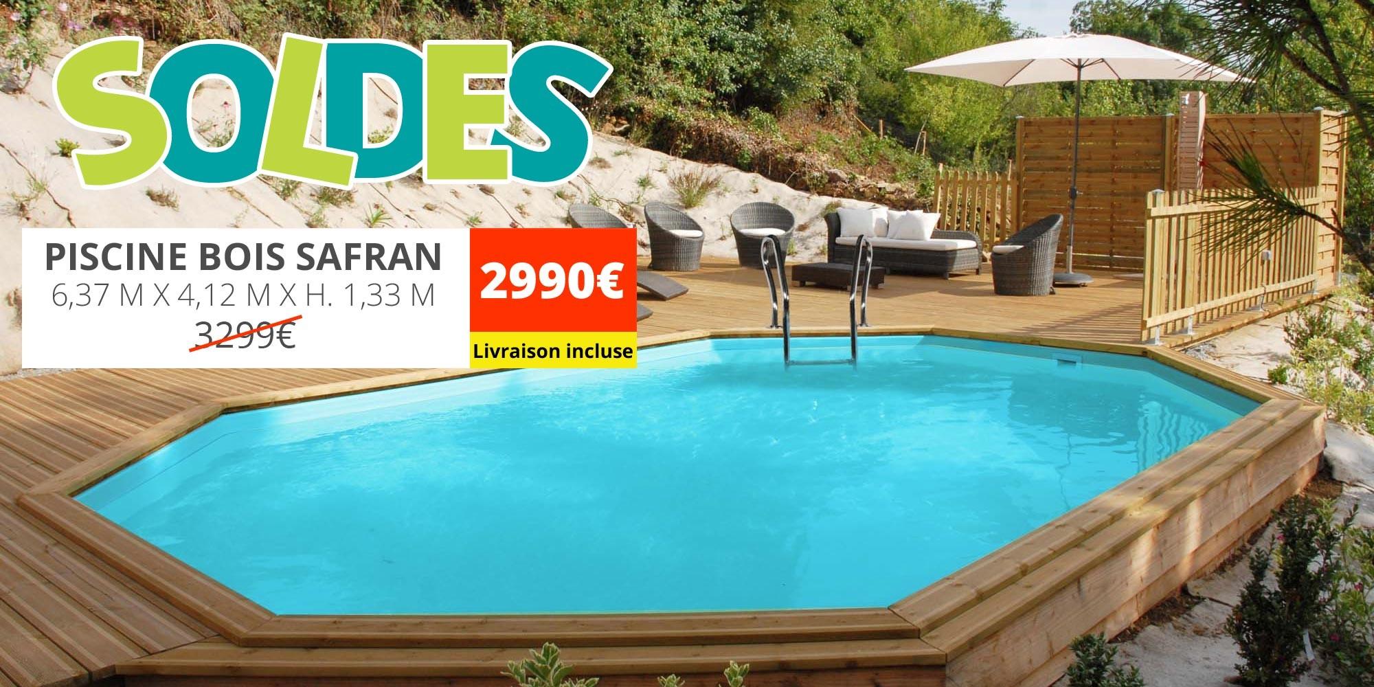 Solde piscine bois safran