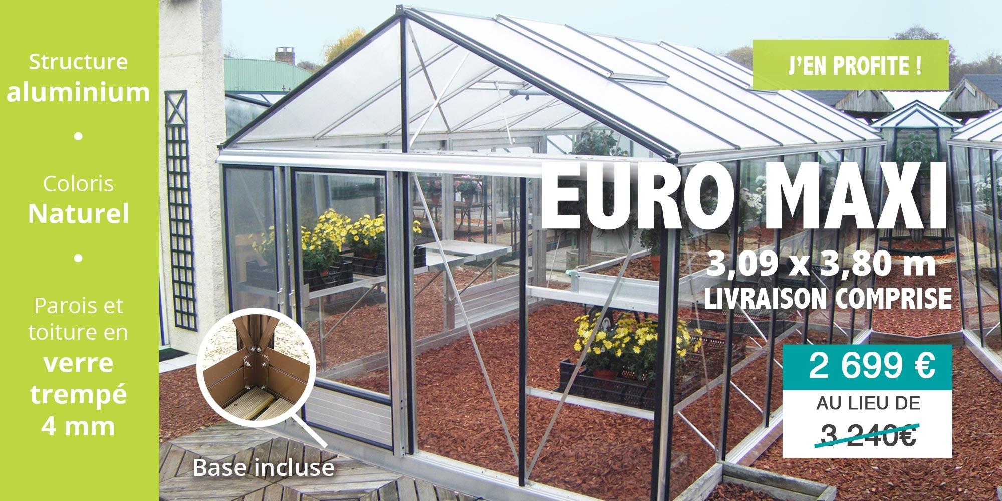 Serre Euro Maxi en promotion 3,09 x 3,80 m aluminium naturel