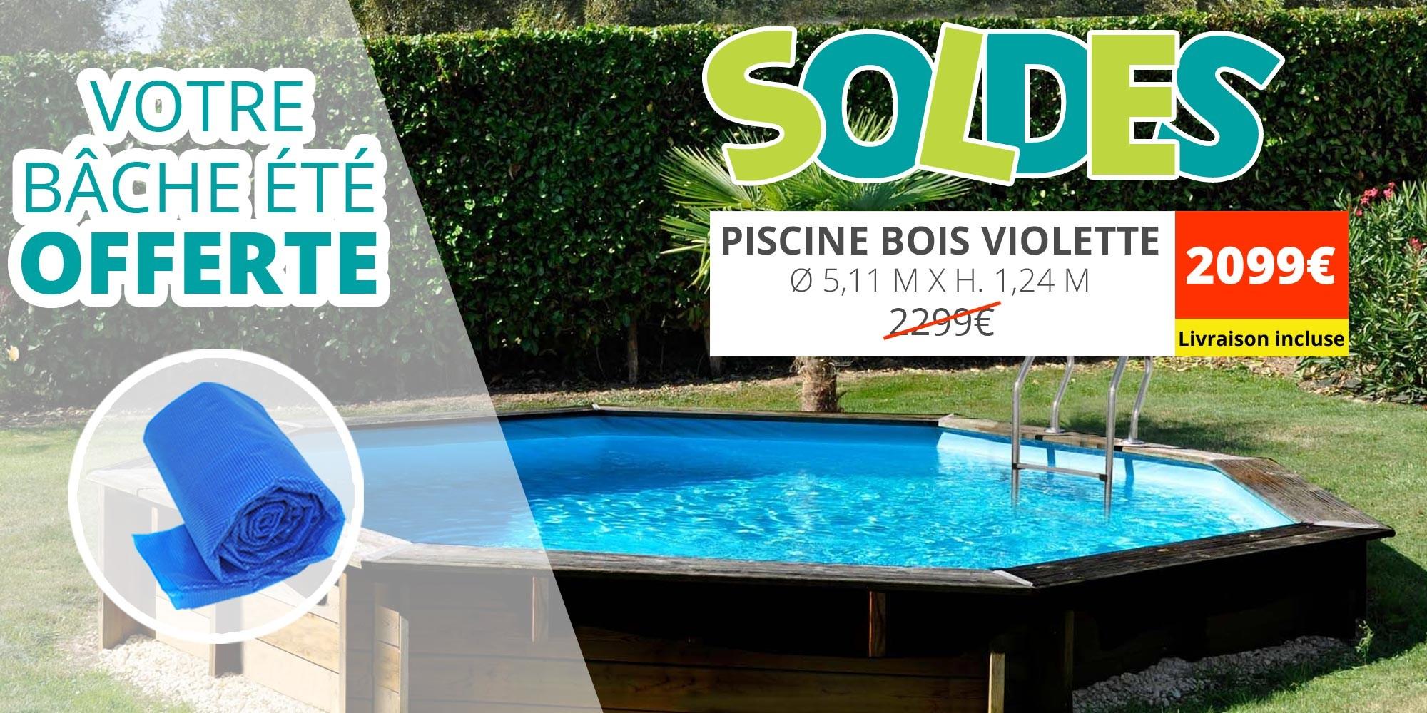 -200€ et bache été offerte pour la piscine bois ronde violette