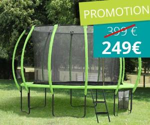 150€ de remise sur notre trampoline courbé diamètre 4,20 m